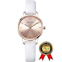BRIGADA Swiss Watches Rose Gold Quartz Waterproof Ladies Watches for Girls Women