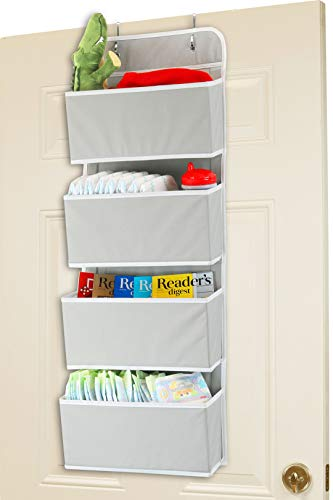 Hanging Door Organizer - Simple Houseware 4 Pocket Over The Door Wall Mount Hanging Organizer, Grey