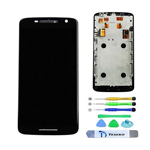 Teseko New Assembly full LCD Display + Touch Screen Digitizer With Frame For Motorola Moto X Play XT1561 XT1562 XT1563 With Free DIY Tools---Black
