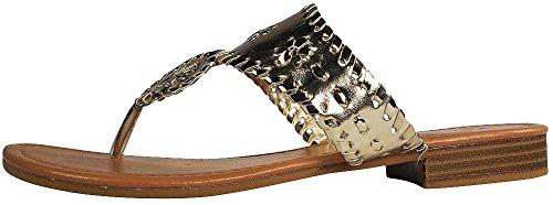 Dumas Flat Rosetta Pierre Womens Gold Sandals 1 6nzndP