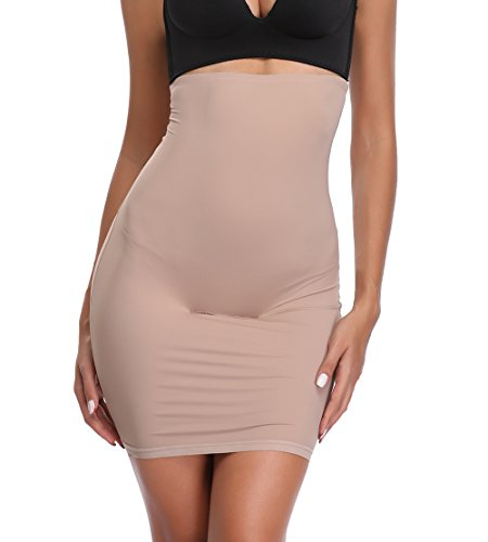 High Waist Half Slip for Women Under Dress Tummy Control Slimming Body Shaper Shapewear Beige