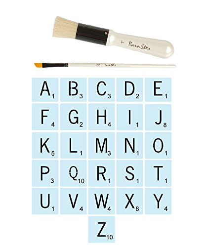 Scrabble Style Letter Stencils for Painting Signs + 2 Designer Brushes, Reusable, 5 Inch Plastic, 14 mil