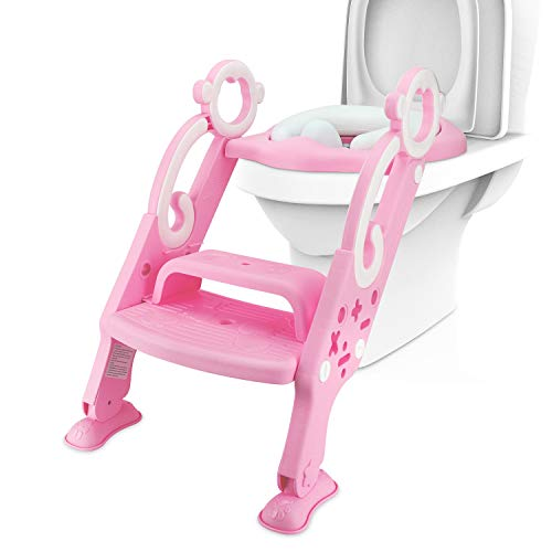 Potty Toilet Training Ladder Seat for Kids, Adjustable Baby Toilet Potty Chair with Sturdy Non-Slip Step Stool Ladder Anti-Splash Design Comfortable Handles for Toddlers, Boys and Girls (Pink)