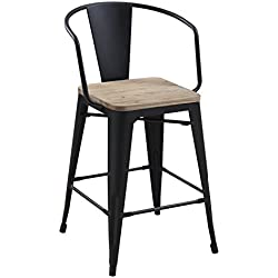 HOMES: Inside + Out IDF-3529BK-PC Trevin Counter-Height Chair (Set of 2), Black