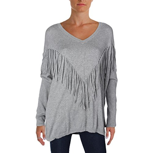 Dkny Wool Cardigan (DKNY Jeans Womens Fringed V-Neck Pullover Sweater Gray L)