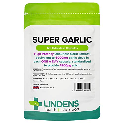Lindens Super Garlic Odourless Capsules – High Strength 6000mg (4200mcg Allicin) – Contributes to Normal Muscle Function, Heart Health and Immune Health – 120 Capsules