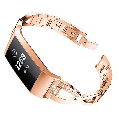 Price comparison product image OUSPOTS for Fitbit Charge 3 Metal Replacement Watch Band,  X-Link Metal Bracelets Replacement Adjustable Straps Crystal Wrist Band Strap Accessory Smart Watch Band (Rose Gold)