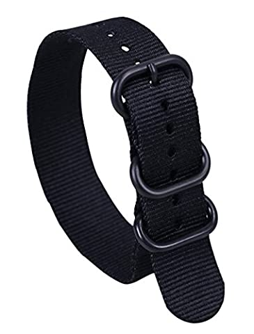 24mm Black Deluxe Premium Durable Sturdy Nylon Nato style Watch Straps Bands Replacements for Men (Watch Strap Ring)