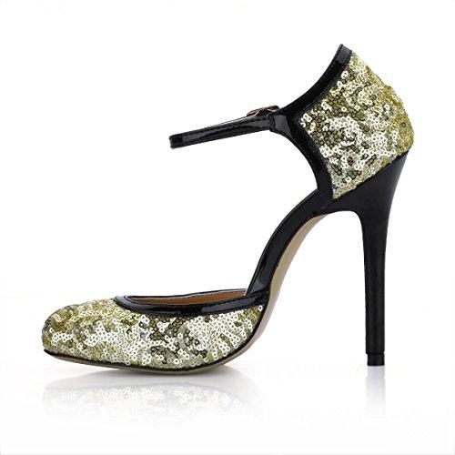 Best 4U? Women's Shoes Premium Sequin Metal Buckle Stiletto 12CM High Heels Round Toe Yellow ishSsMFi