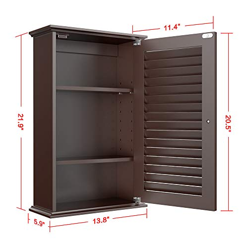 Topeakmart Bathroom Kitchen Wall Mounted Single Louvered Door 3 Tier Adjustable Storage Shelf Medicine Cabinet Cupboard