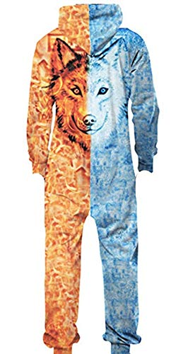 Animal Jumpsuits For Adults (Adult Unisex Hoodie Pajamas Polyester Sportswear Jumpsuit Animal Lion Wolf Pajamas Onesies Cosplay Party Halloween Christmas Wear (Wolf red Blue,)