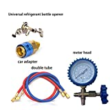 Feileng Manifold Gauge Set R22 R134A R410 R600 Refrigerant Household Air Conditioning Fluoride Adding Tool Kit for Car Air Conditioning Cool Gas Meter fit