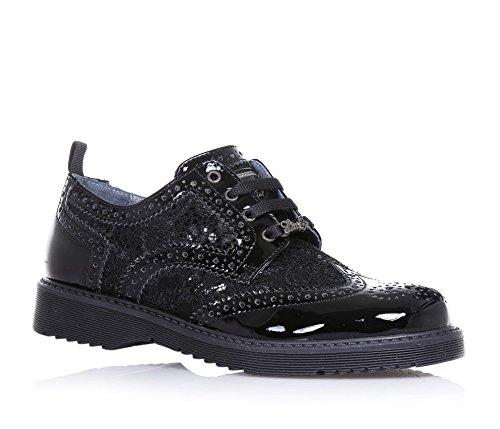 LIU JO - Chaussure à l'anglaise noire, en vernis et dentelle, avec logo sur la languette, perforée, coutures visibles, Fille, Filles, Femme, Femmes