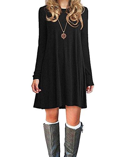 Century Star Womens Fall & Winter Long Sleeve Casual Plain Simple T-Shirt Loose Dress Soft Thin Knee Length Flowy Dress