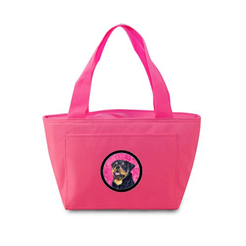 Caroline's Treasures SS4800-PK Rottweiler Lunch or Doggie Bag, Large, Pink