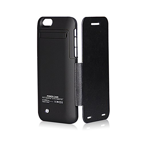 Garas 3500mah Portable External Back Clamp Charger Case for Iphone 6 of 4.7 Inches with Plastic Protective Cases,flips Case, Black
