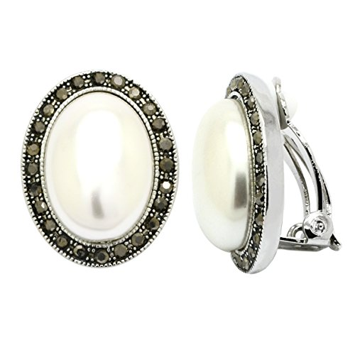 (Simulated Pearl Clip On Earrings Oval Black Crystal Rhodium Plated Woman Fashion)
