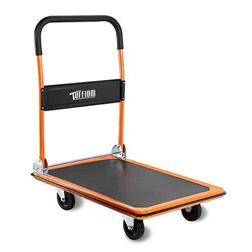 FCH 330lbs Platform Truck Folding Hand Truck Warehouse Moving Push Platform Cart Truck,Orange