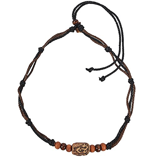 JESSE · RENA Men's Jewelry Hemp Beach Choker Pendant Surfer Necklace Accessories (Brown/Black)
