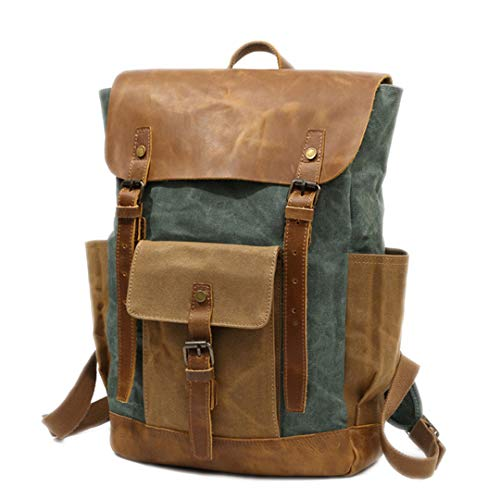 - Vintage Waxed Canvas Men Backpack Large Capacity Military Oiled Leather School Backpack Rucksack Waterproof Travel Bag