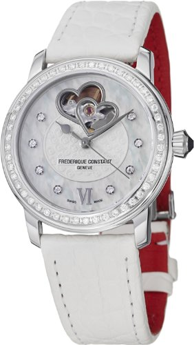Frederique Constant Automatic Mother of Pearl White Leather Ladies Watch FC-310WHF2PD6