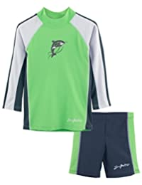 SunBusters Boys Two-Piece Long Sleeve Swimsuit Set, UPF 50+ Sun Protection