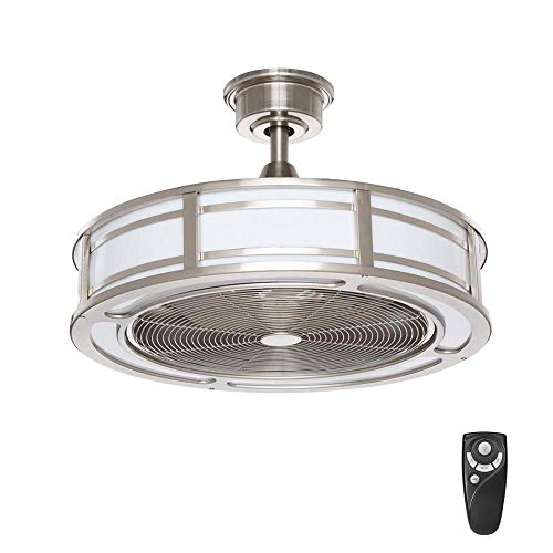 Home Decorators Collection Brette 23 in. LED Indoor/Outdoor Brushed Nickel Ceiling Fan ()
