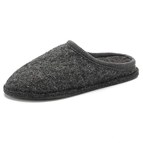 Men's Boiled Wool House Slippers Breathable Warm Clog Slip on Mule Indoor/Outdoor Slpiper for Women (Large/Men 9-10.5=44 EU=Women 10.5-11.5, 2018 Dark Gray)