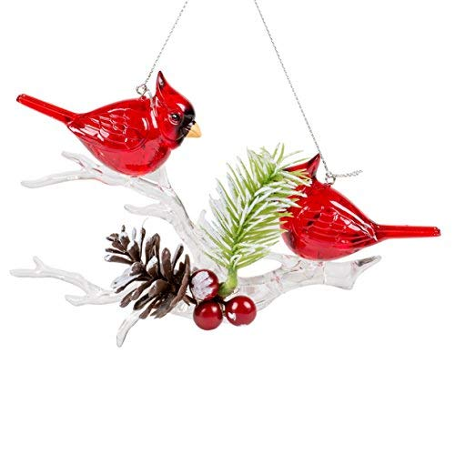 Cardinals on Winter Branch 7 x 7 Inch Plastic Decorative Hanging Christmas Ornament -