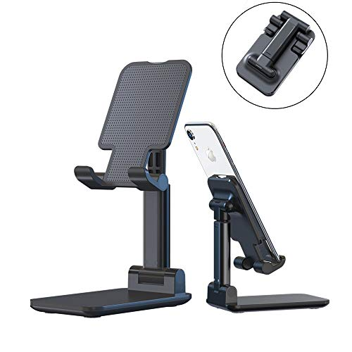 Phone Stand, Foldable Desktop Cell Phone Tablet Stand, Folding Nonslip Silicone Multi-Angle Adjustable Sturdy Metal Phone Holder for Mobile Phone, iPad, Nintendo Switch, Tablets (4-12.9) (Black)