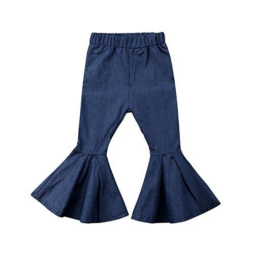 beBetterstore Toddler Girls Bell Bottom Pants Wide Leg Denim Jeans Trousers