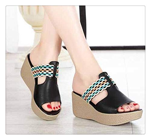 QQFLRB& Brand Sandals Women Slippers 2019 New Spell Colors Summer Shoes Woman Genuine Leather Shoes Platform Wedges Sandals Black 9