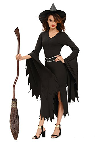 Matching Womens Ideas Halloween Costume (NuoReel Womens All Black Gothic Witch Halloween Costume US 10-14=Tag Size L Size)