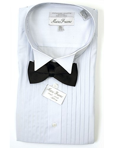 Men's Marc Franc White Wing Tip Tuxedo Shirt with Black Bow Small 15 (32/33) Complete Black Tuxedo