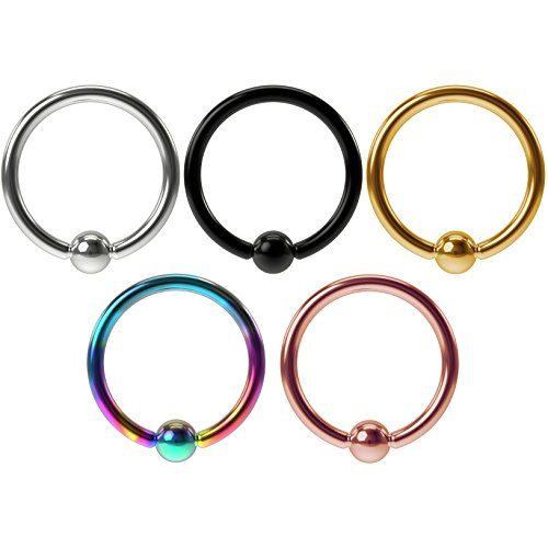 5pc 16g Stainless Steel Captive Bead Rings Earrings Balls Gauge Hoop Tragus Daith Septum Helix - 16g Ring Captive