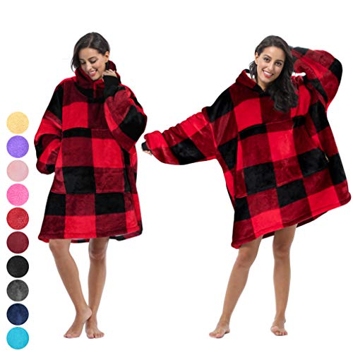 Tirrinia Blanket Sweatshirt, Super Soft Warm Comfortable Sherpa Hoodie with Giant Pocket, for Adults and College Students, Outdoor, Indoor,Reversible, Hood, Oversized, Plaid Red