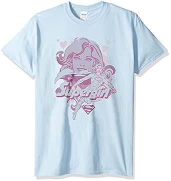 Trevco Men's Supergirl Short Sleeve T-Shirt, Light Blue, Small