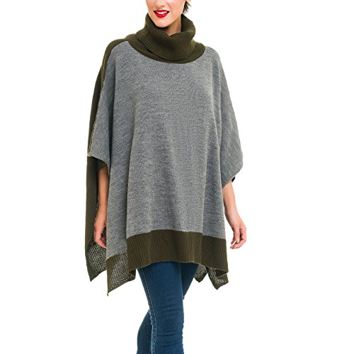 Cardigan Poncho Turtleneck Sweater: Women Gray Shawl Wrap Cape Coat for Winter (Gray Green)