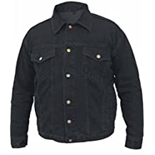 Men's Black Denim Motorcycle Jacket 100% Cotton