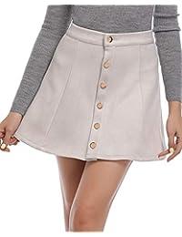 Women's Faux Suede Button Closure A-Line Mini Short Skirt