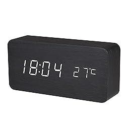 BALDR Wooden Digital Alarm Clock, Black Wood White Light