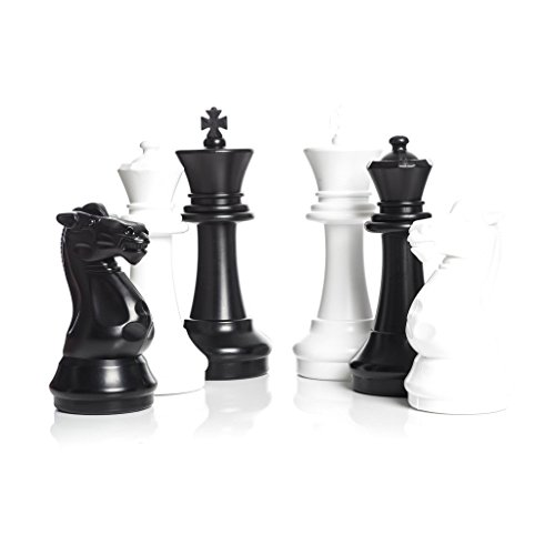 (MegaChess Large Chess Pieces - Black and White - Plastic - 16 inch)