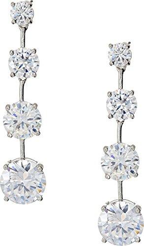 Nina Women's Linear Round Drop Earrings Rhodium/White Cz One Size