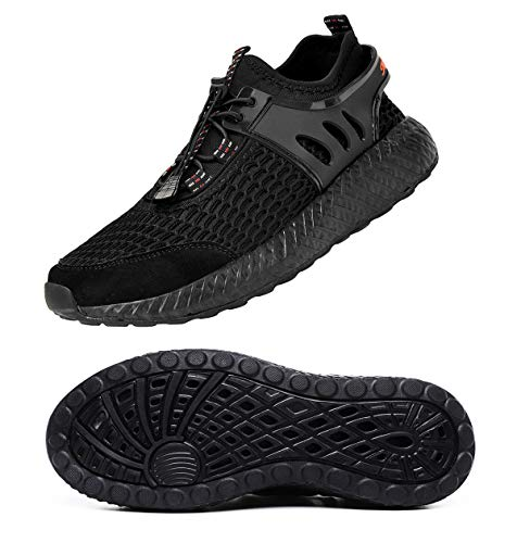 MOHEM Mens Womens Quick Dry Mesh Water Shoes Casual Running Walking Sneakers Shoes(WS198001All-Black39)