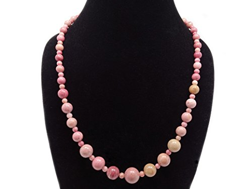 "jennysun2010 Handmade Natural Rhodochrosite Gemstone Beads 4~12mm Graduated Adjustable Necklace Healing (18"" Adjustable up to 30"")"