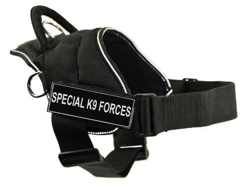 DT Fun Works Harness, Special K9 Forces, Black with Reflective Trim, Large Fits Girth Size  32-Inch to 42-Inch