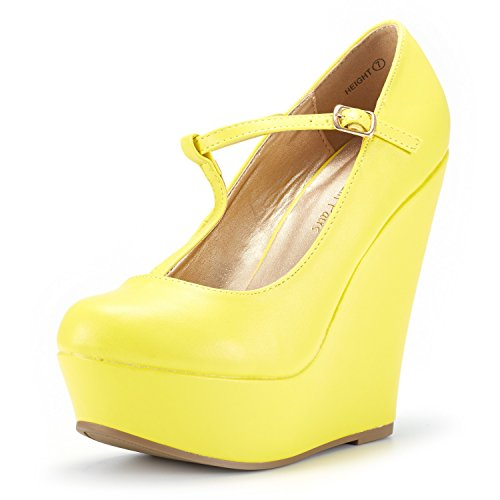 DREAM PAIRS Wedge-Height Yellow Pu Mary Jane Platform Wedges Shoes for Women Size 8.5 B(M) US