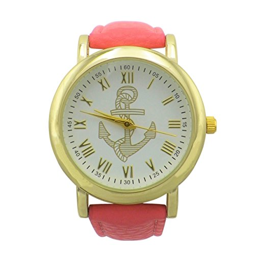 Rosemarie Collections Women's Round Face Gold Anchor Leather Band Watch - Macys Polo Sale