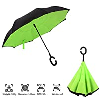 CCTRO Double Layer Inverted Umbrella Cars Reverse Umbrella, Windproof UV Protection Big Straight Umbrella Inside Out Travel Umbrella for Car Rain Outdoor With C-Shaped Handle