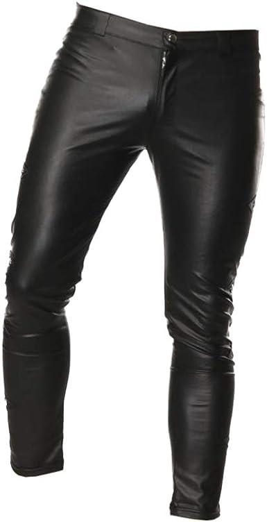 Fenical Pantalones De Cuero Para Hombre Pantalones Pitillo Ajustados Pantalones Largos Con Cremallera Disfraz Cosplay Disfrazarse Para Espectaculo Nocturno Amazon Es Ropa Y Accesorios
